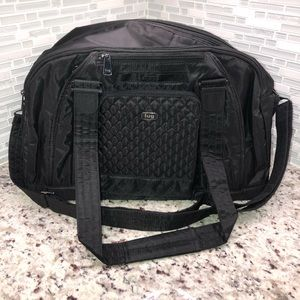 Lug Quilted Accent Propeller Duffel Bag Black